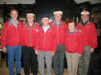 The Canadian delegation, proudly wearing their Canada jackets: L to R: Murray Doull, John Lowe, Aubrey Flegg, Larry Stebbe, Betty Waldenberger, Wayne Stebbe